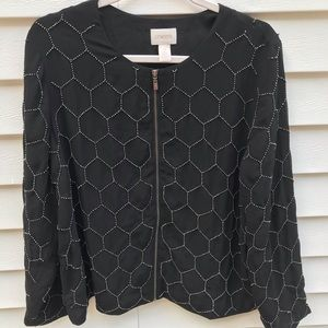 Chico's Size 2 Black Beaded Zip Jacket